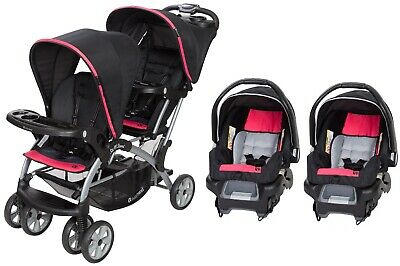 Baby Trend Sit N Stand Double Stroller Two Infant Car Seat Combo