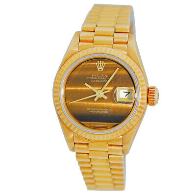 ROLEX Lady 18K Yellow Gold 26mm President Datejust Tiger Eye Dial 69178 Box