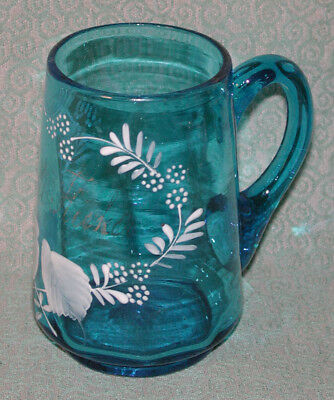 Antique Blue BOHEMIAN Enameled Art GLASS Punch Cordial CUP Hand Blown Painted