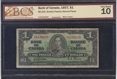 1937 Bank of Canada $1 Note H/A Prefix Narrow Signature Panels Gordon Towers