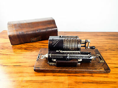Antique 1920s Lipsia 3 Mechanical Pin Wheel Calculator Arithmometer Casa Suiza