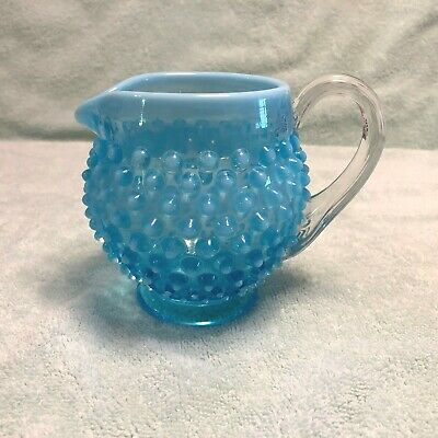 Pottery & Glass Reasonable Vintage Fenton Opalescent Cranberry Hobnail Squat Pitcher Art Glass