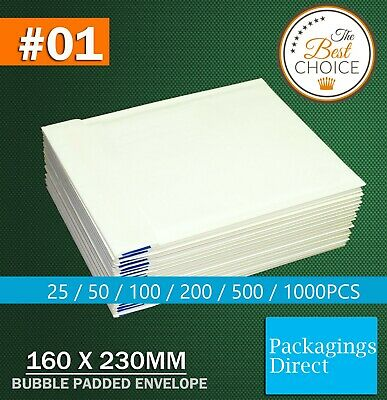 Bubble Mailer - Plain White - #01 160X230mm 01 Kraft Paper Padded Bag Envelope