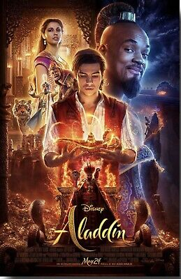 "Disney's ALADDIN 2019 Original DS 2 Sided 13.5 X 20"" US Movie Poster Will Smith"