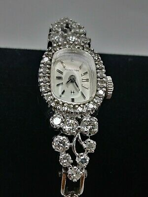 Vintage Lady's Hamilton 14k Solid White Gold 1.60tcw Natural Diamond Dress Watch