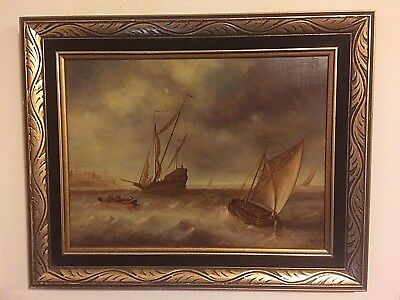 Old Master Dutch School antique oil painting on board,19th C Signed