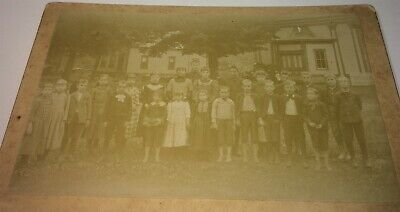 Antique Victorian American Class Portrait Outdoor Barefoot Group Cabinet Photo!