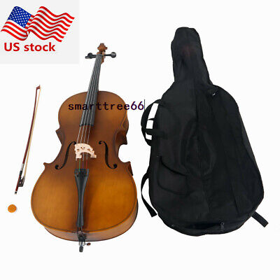 US 4/4 Professional Playing Matte Golden Adults Acoustic Cello Case Bow Rosin
