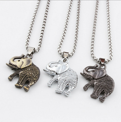 Unisex Stainless Steel Crystal Elephant Necklace Pearl Chain Silver Jewelry Punk