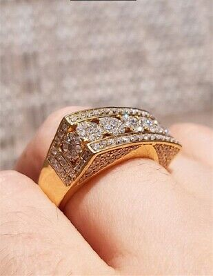 Luxury Women Men 18K Gold Plated White Topaz Iced Out Ring Band Wedding Jewelry