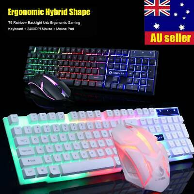 Glowing Limeide Backlight USB Ergonomic Gaming Keyboard and Mouse Set for PC&Lap