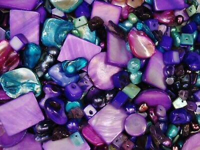 Shell/Mother of Pearl/Freshwater Pearls Bead 50g Purples Jewellery FREE POSTAGE