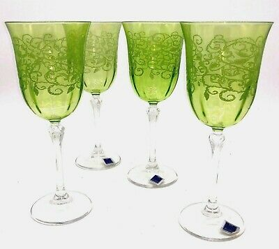 Set of Four Le Stelle Glasses Etched Green Wine Stemware Italy Goblets Lot
