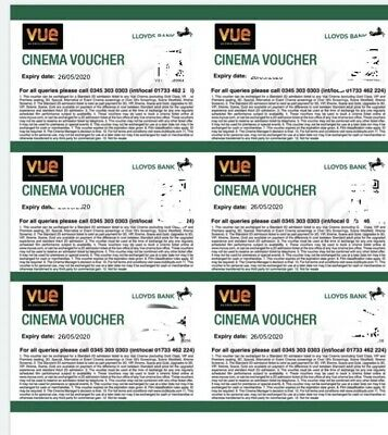6 x VUE Cinema Tickets - Approx £60 value - expire on 26.5.20.