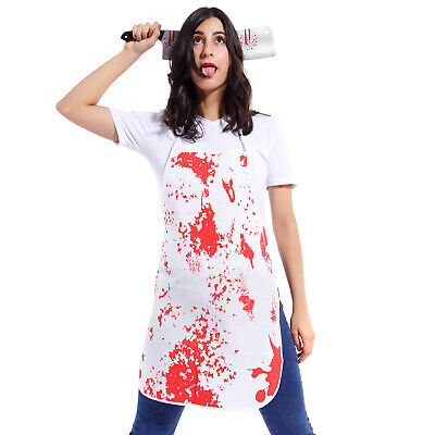 Halloween Novelty Bloody Apron Blood Splatter Halloween Horror Nurse Surgeon Dress Costume Set Household Cleaning Protections