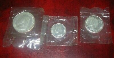 SET OF 3 x 1974 CYPRUS ARCH BISHOP MAKARIOS SILVER COINS UNC £3, £6 & £12