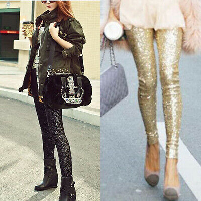 Womens Glitter Sequin High Waisted Trousers Slim Tight Pencil Pants Leggings AU