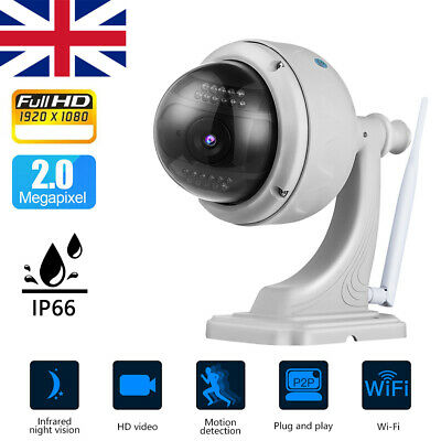 Wireless Outdoor CCTV PTZ 1080P WIFI IP Camera Dome Security IR Cam New