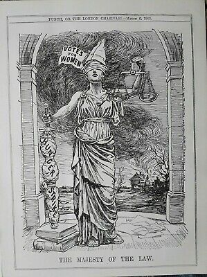 1913 Caricature : The Majesty Of The Law ( Suffrage Parody )