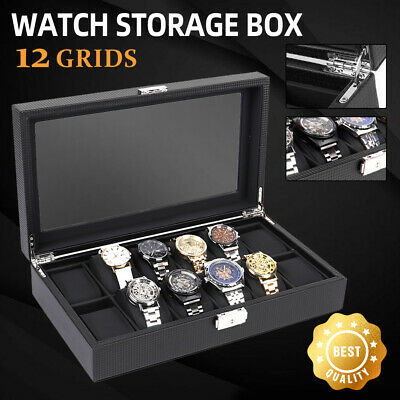 🔥Watch Box Carbon Fiber 12 Grids Gift Storage Display Organizer High-Grade