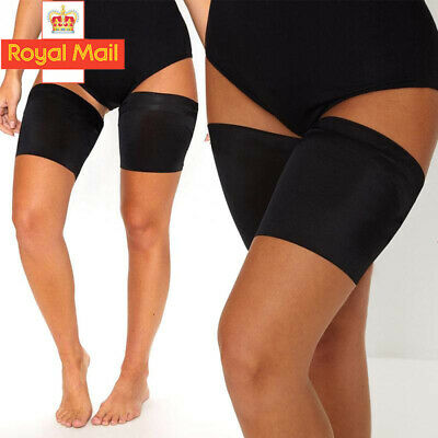 Black Anti Chafing Thigh Bands Pair Elastic Non Slip Leg Comfort Running Sports