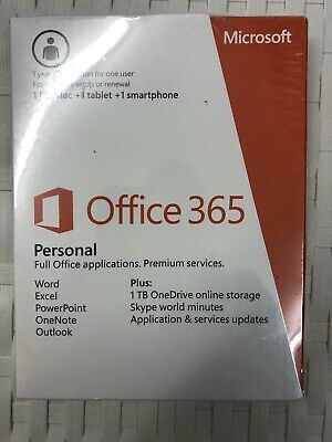 Microsoft Office 365 Personal 32/64 Bit 1 Year 1 Device Download (No CD)