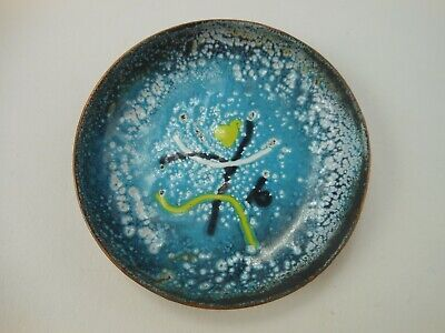 Vintage Enamel On Copper Dish Abstract Design Blue White