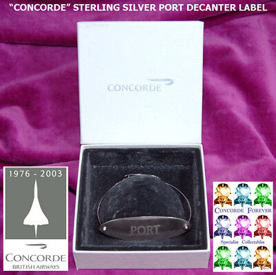 Concorde Solid Silver Port Decanter Label. A B A Gift From 2000. Bnib. I Post Ww