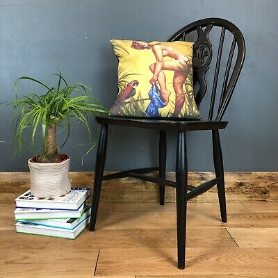 Vintage Upcycled Fleur De Lys Ercol Elm Beech Dining Chair Black Upcycled
