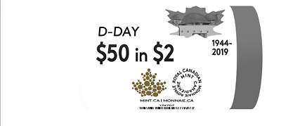 2019 D-Day FULL NO-COLOR Special Wrap ROLL Canada Coin Toonie $2 UNC (25 coins)