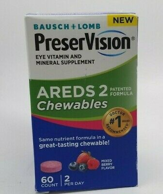 Bausch & Lomb PreserVision AREDS2 Eye Vitamin & Mineral 60 Chewable 09/2019+