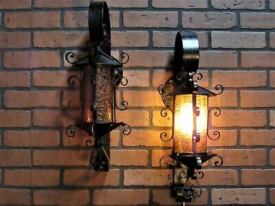 """Vintage Antique 1940's Pair Wrought Iron Porch Light Wall Sconce 21 1/2"""""""