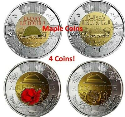 4 Canada coins: 2019 D-Day & 2018 Armistice Color & No-Color Toonie $2 BU UNC