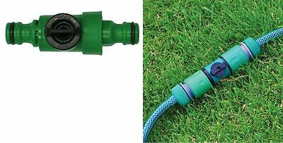 "1/2"" Positive Shut Off Garden Hose Pipe Inline Tap Ball Valve Fitting Connector"