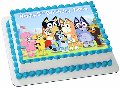Bluey Friends Edible Personalized Rectangle Cake Topper Birthday Decoration #731