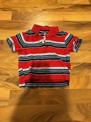 Old Navy Infant Boys Red Blue Striped Collared Tee 18-24M GUC
