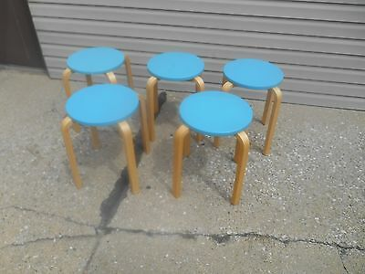 Awesome MCM Lithuania Bentwood Turquoise Round Stacking Stools Retro / MCM