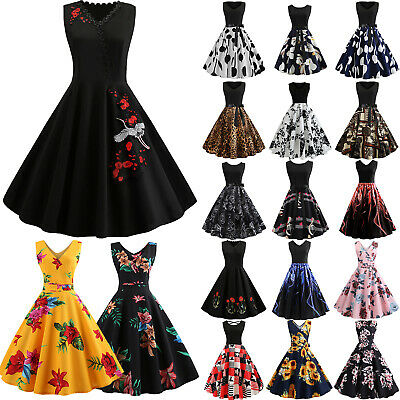 fca3116c0f95b WOMENS LADIES 50S Style Vintage Belted Rockabilly Party Retro Floral ...