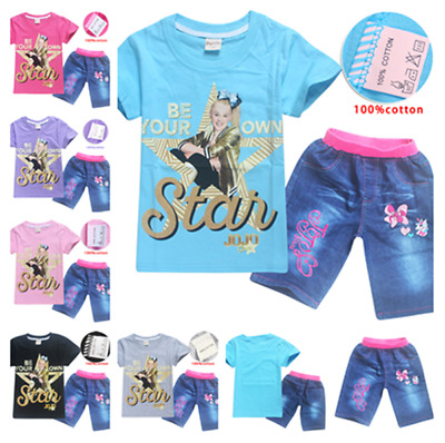 New Kids Girls Jojo siwa Casual Cotton T-Shirts Shirts Tops + Short Jeans Gift