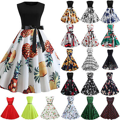Womens Retro 50s Sleeveless Skater Floral Rockabilly Ladies Party Swing Dress