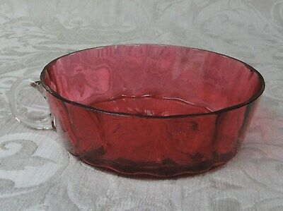 Victorian Cranberry Glass Porringer with Clear Handle Scodella Cranberry