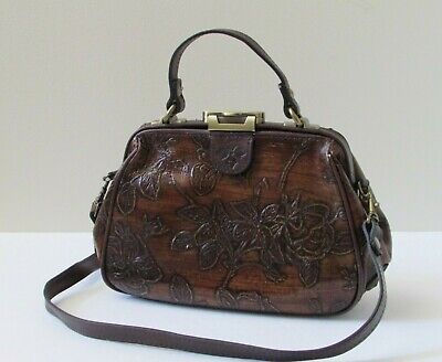 Patricia Nash Gracchi Barkleaves Leather Satchel Shoulder Purse