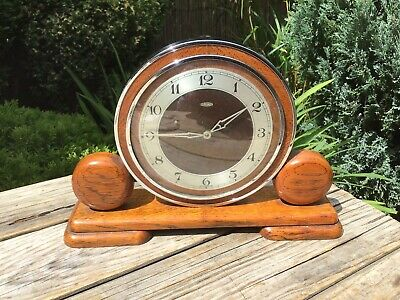 ART DECO MANTLE CLOCK - VINTAGE WOODEN METAMEC MANTEL CLOCK 1930s