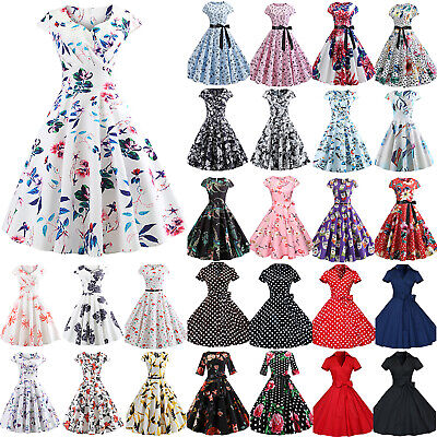Women's 50s 60s Style Vintage Pinup Evening Party Rockabilly Swing Hepburn Dress