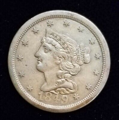 1849 Braided Hair Half Cent Coin 1/2c w/ XF/AU Details Low Mintage