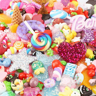 Habbi 180 Pack Slime Charms Cute Set - Mixed Candy Sweet Food Slime Beads Resin