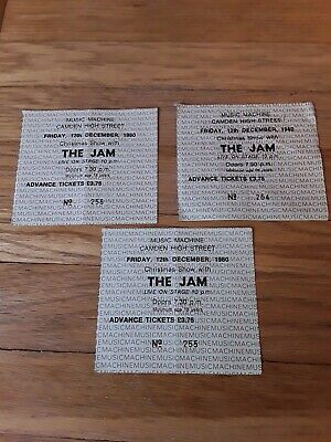 *REDUCED*  ORIGINAL THE JAM 3 x CONSECUTIVE CONCERT TICKETS CAMDEN HIGH ST 1980