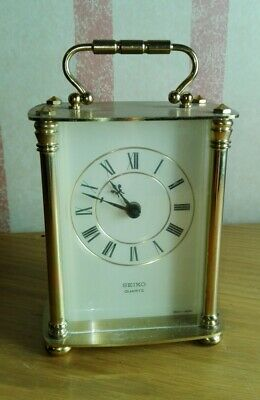Vintage Brass Seiko Quartz Carriage or Mantle Clock Working ID0394