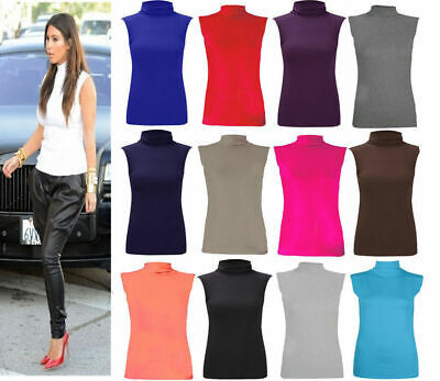 Womens Ladies Sleeveless Turtle Polo Neck Top Plain Roll Neck Shirt Jumper 8-26