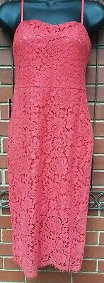 Express Womens Coral Lace Overlay Midi Spaghetti Strap Dress Size 00